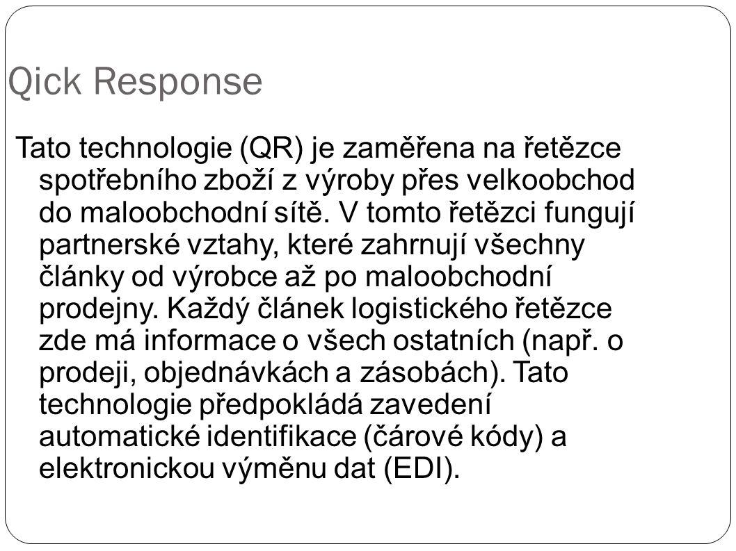 Qick Response Tato technologie (QR) je zaměřena na řetězce spotřebního zboží z výroby přes velkoobchod do maloobchodní sítě. V tomto řetězci fungují p