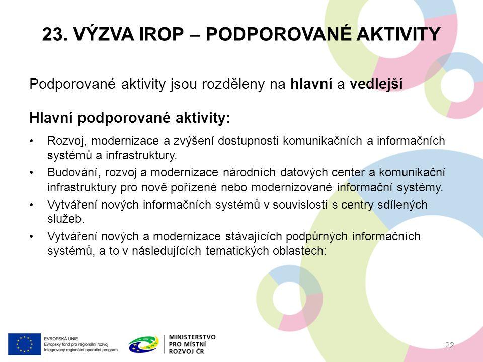 23. VÝZVA IROP – PODPOROVANÉ AKTIVITY Podporované aktivity jsou rozděleny na hlavní a vedlejší Hlavní podporované aktivity: Rozvoj, modernizace a zvýš
