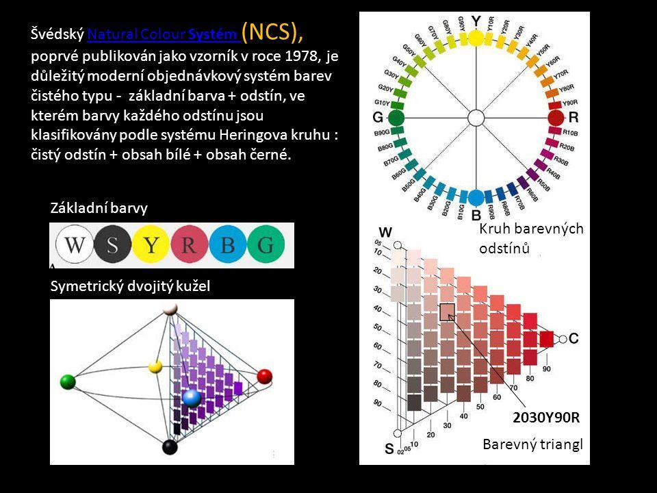 Švédský Natural Colour Systém (NCS), Natural Colour Systém poprvé publikován jako vzorník v roce 1978, je důležitý moderní objednávkový systém barev čistého typu - základní barva + odstín, ve kterém barvy každého odstínu jsou klasifikovány podle systému Heringova kruhu : čistý odstín + obsah bílé + obsah černé.