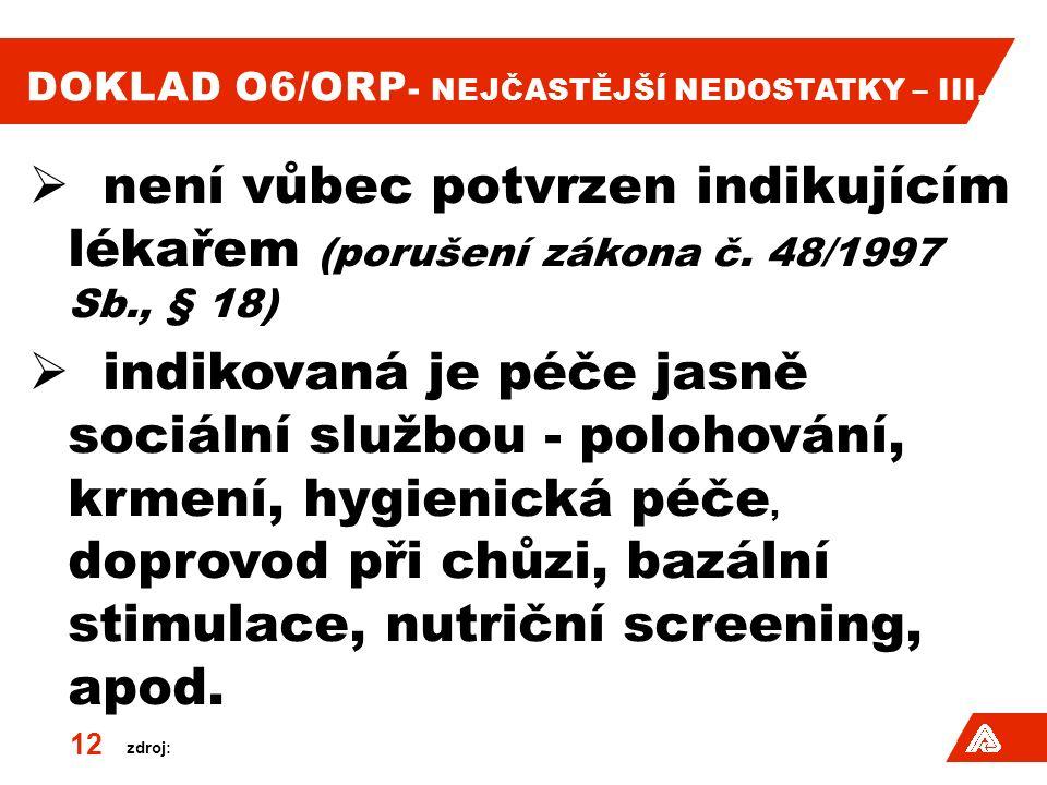 zdroj: DOKLAD O6/ORP - NEJČASTĚJŠÍ NEDOSTATKY – III.