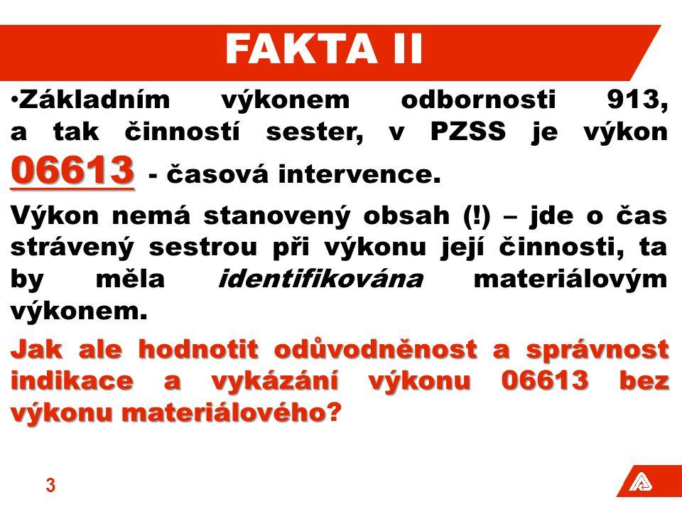 FAKTA II 06613 Základním výkonem odbornosti 913, a tak činností sester, v PZSS je výkon 06613 - časová intervence.