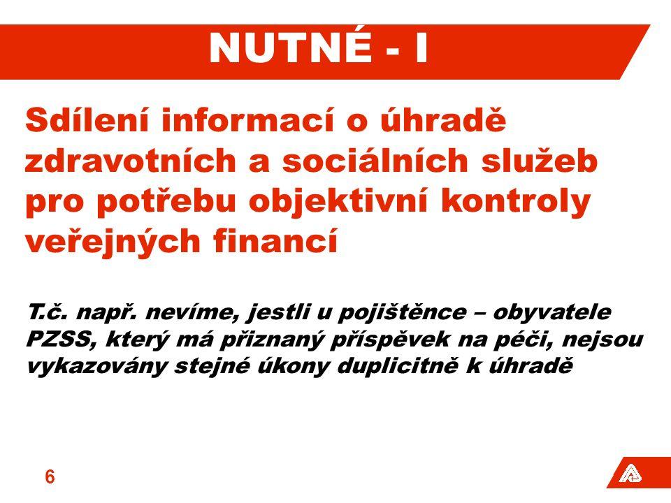 NUTNÉ - I Sdílení informací o úhradě zdravotních a sociálních služeb pro potřebu objektivní kontroly veřejných financí T.č.