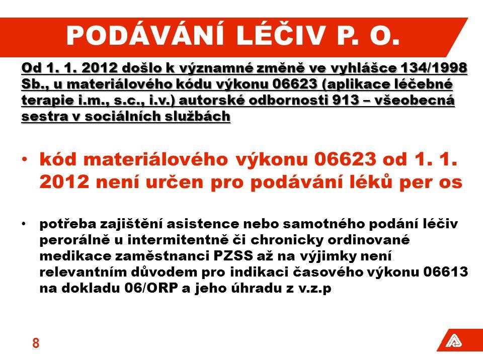 PODÁVÁNÍ LÉČIV P. O. Od 1. 1.