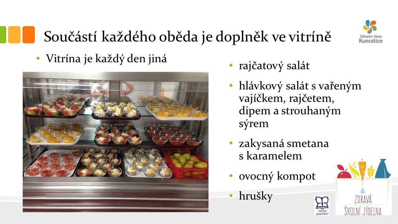 Součástí každého oběda je doplněk ve vitríně Vitrína je každý den jiná rajčatový salát hlávkový salát s vařeným vajíčkem, rajčetem, dipem a strouhaným