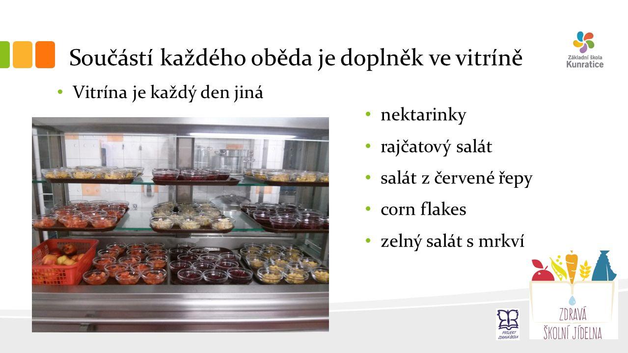 Součástí každého oběda je doplněk ve vitríně Vitrína je každý den jiná nektarinky rajčatový salát salát z červené řepy corn flakes zelný salát s mrkví