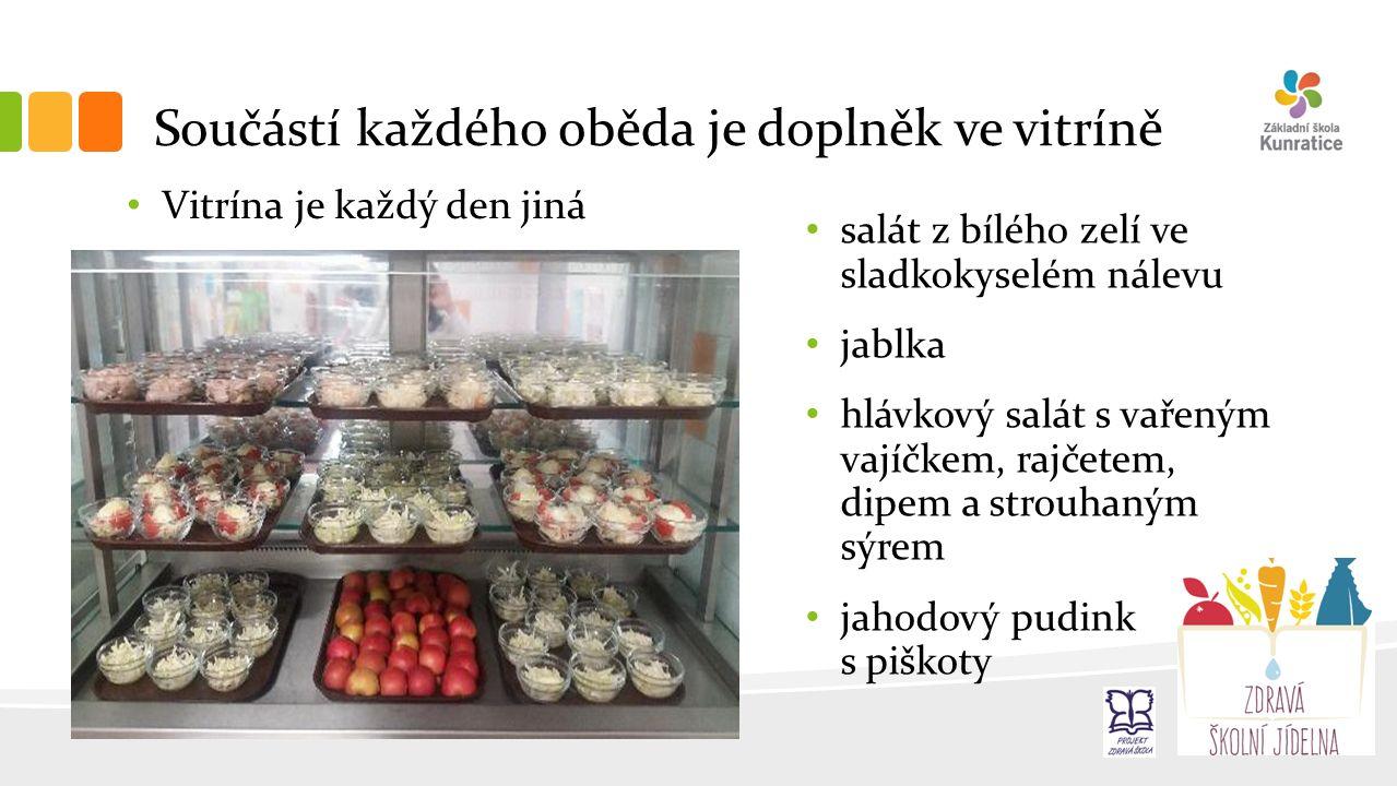 Součástí každého oběda je doplněk ve vitríně Vitrína je každý den jiná salát z bílého zelí ve sladkokyselém nálevu jablka hlávkový salát s vařeným vajíčkem, rajčetem, dipem a strouhaným sýrem jahodový pudink s piškoty
