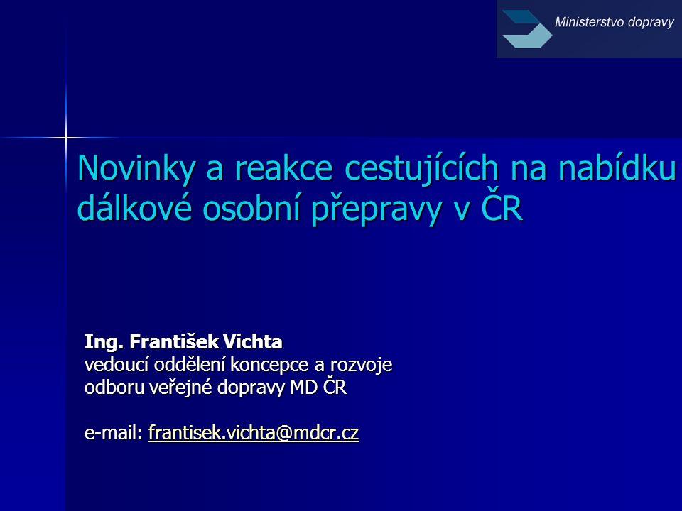 Novinky a reakce cestujících na nabídku dálkové osobní přepravy v ČR Ing.