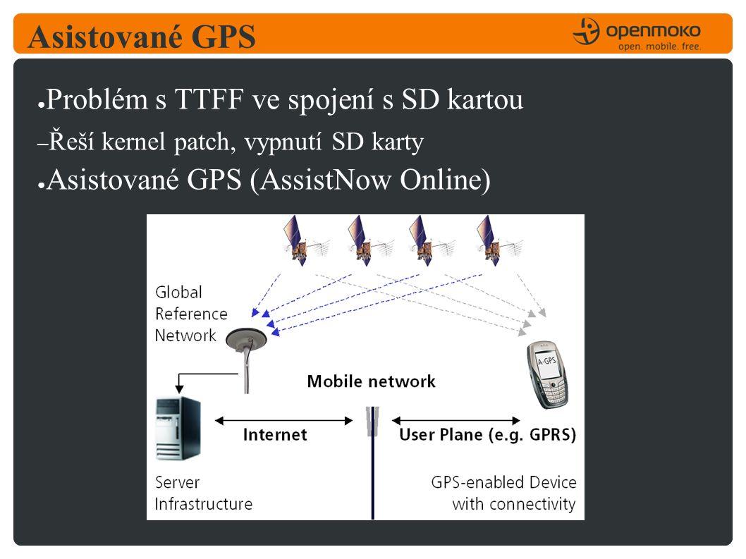 Asistované GPS ● Problém s TTFF ve spojení s SD kartou – Řeší kernel patch, vypnutí SD karty ● Asistované GPS (AssistNow Online)