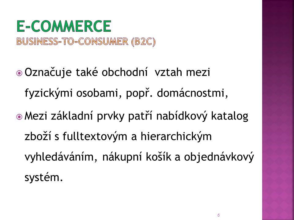 7 Podnik (B – Business) Zákazník (C – Consumer) Správa (G – Government) Podnik (B – Business) B2B Systémy pro obchodní transakce mezi podniky B2C Internetové obchody určené koncovým spotřebitelům B2G Nabídka služeb a zboží, komunikace se státní správou Zákazník (C – Consumer) C2B Prodej spotřebitelů firmám, sledování nabídek C2C Aukční systémy pro prodej použitého zboží C2G Podávání daňových přiznání, volby, sčítání lidu Správa (G–Government) G2B Zadávání veřejných zakázek a grantových projektů G2C Poskytování informací o veřejné správě G2G Spolupráce státních orgánů, mezinárodní koordinace