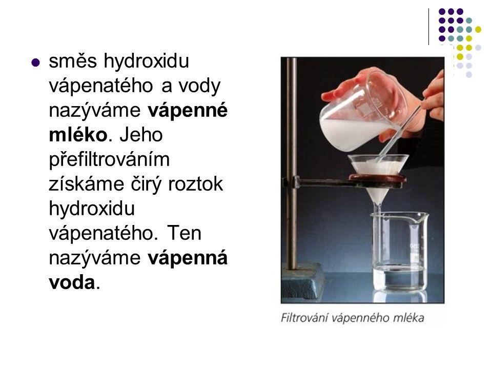 směs hydroxidu vápenatého a vody nazýváme vápenné mléko.