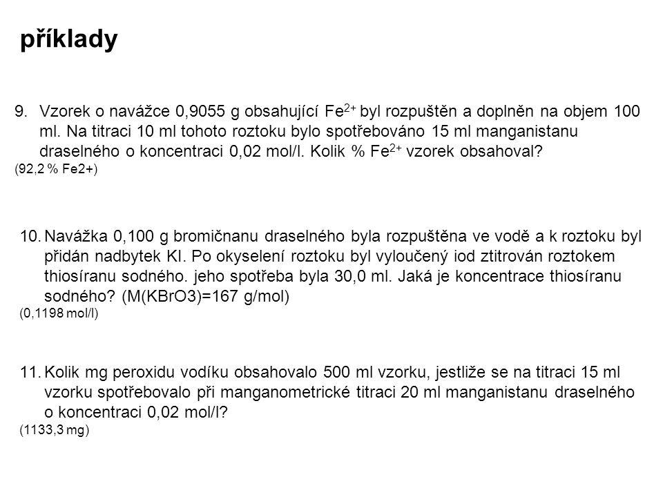 příklady 9.Vzorek o navážce 0,9055 g obsahující Fe 2+ byl rozpuštěn a doplněn na objem 100 ml. Na titraci 10 ml tohoto roztoku bylo spotřebováno 15 ml