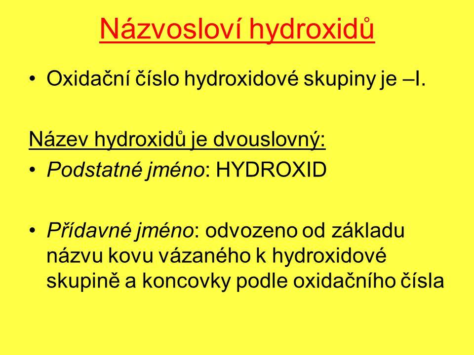 Názvosloví hydroxidů Oxidační číslo hydroxidové skupiny je –I.