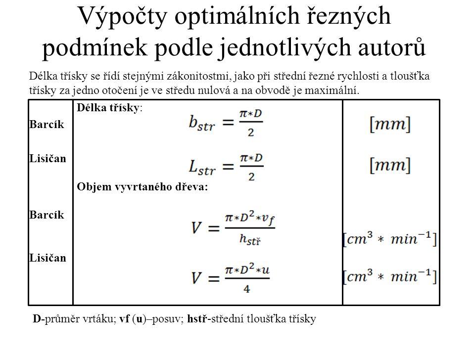 Výpočty optimálních řezných podmínek podle jednotlivých autorů Délka třísky se řídí stejnými zákonitostmi, jako při střední řezné rychlosti a tloušťka