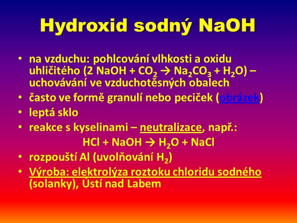 Hydroxid sodný NaOH Použití výroba mýdel výroba papíru, celulózy výroba hliníku zpracování tuků a olejů čištění odpadů (opatrně!)