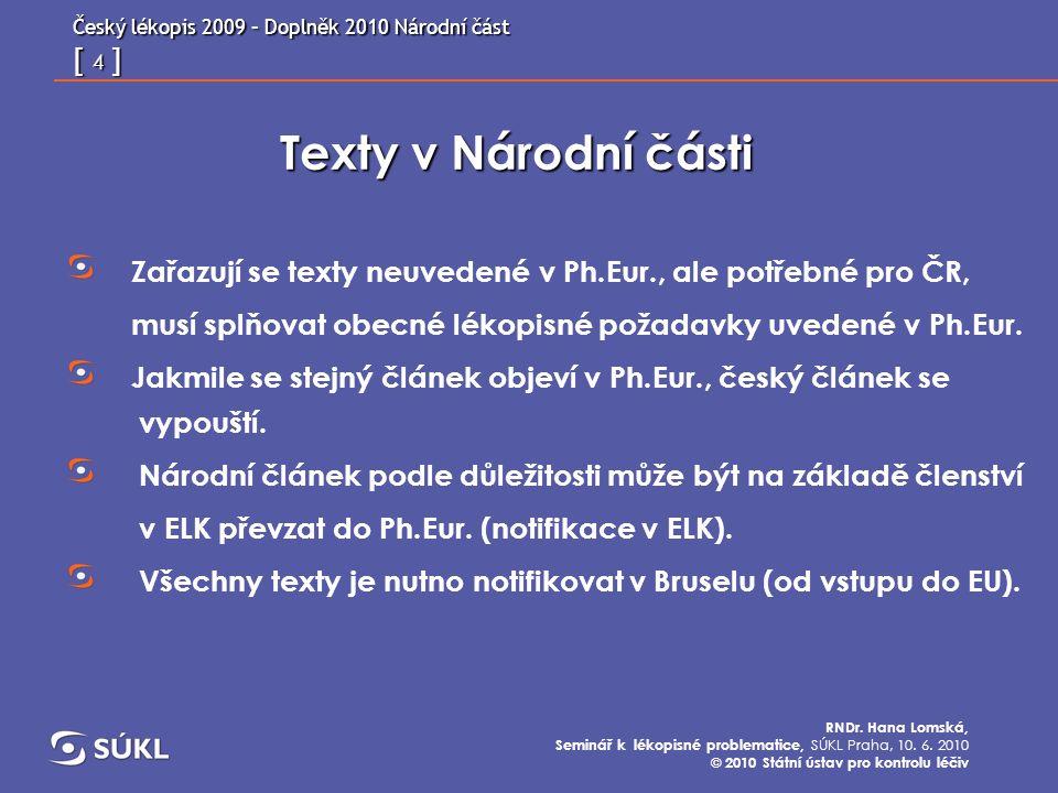Český lékopis 2009 – Doplněk 2010 Národní část [ 15 ] RNDr.