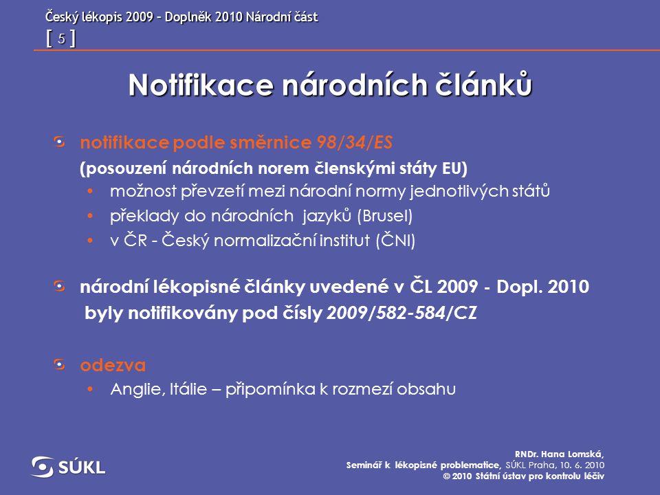 Český lékopis 2009 – Doplněk 2010 Národní část [ 26 ] RNDr.