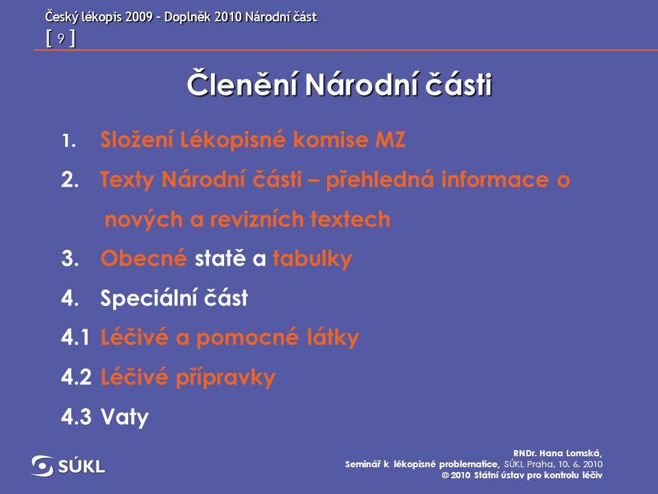 Český lékopis 2009 – Doplněk 2010 Národní část [ 20 ] RNDr.