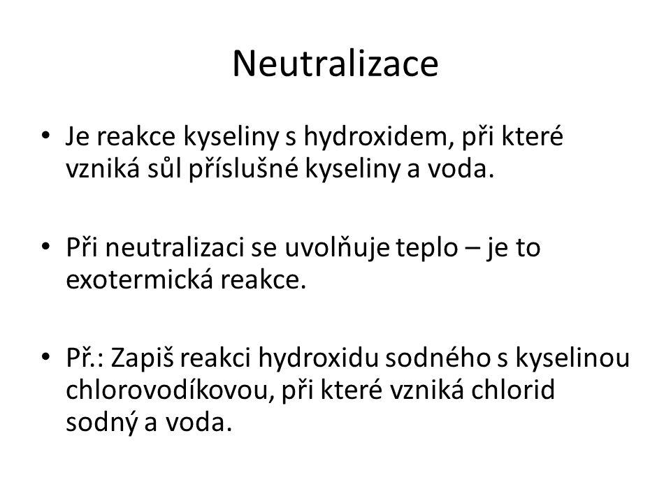 Kyselina chlorovodíková + hydroxid sodný chlorid sodný + voda HCl + NaOH → NaCl + H 2 O HOH