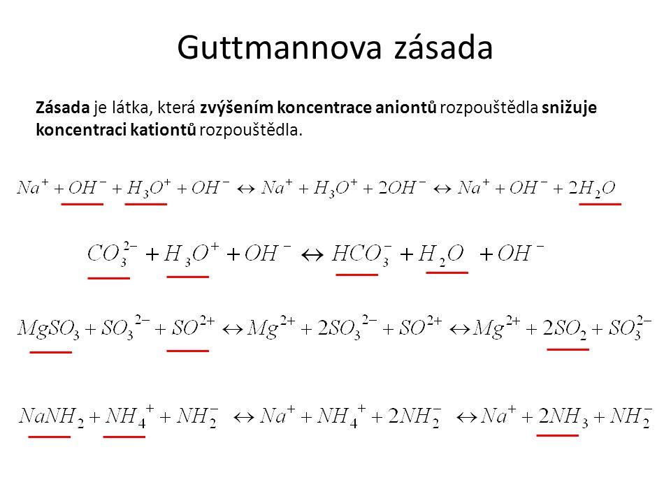 Guttmannova zásada Zásada je látka, která zvýšením koncentrace aniontů rozpouštědla snižuje koncentraci kationtů rozpouštědla.