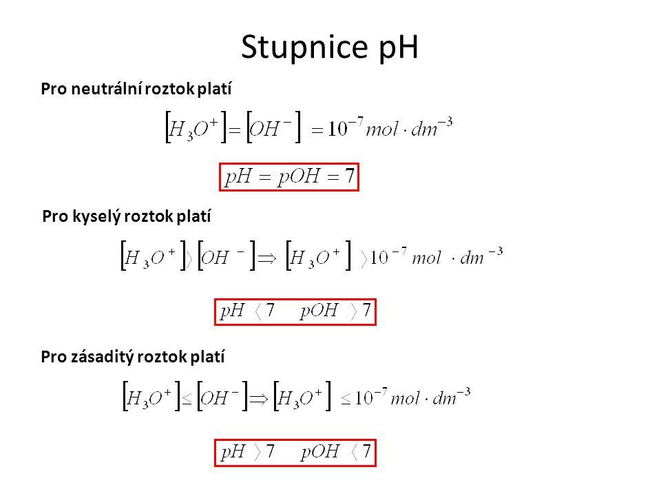 Stupnice pH Pro neutrální roztok platí Pro kyselý roztok platí Pro zásaditý roztok platí