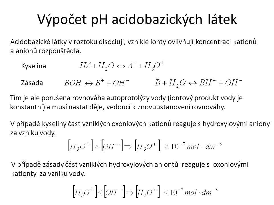 Výpočet pH acidobazických látek Acidobazické látky v roztoku disociují, vzniklé ionty ovlivňují koncentraci kationů a anionů rozpouštědla. Kyselina Zá