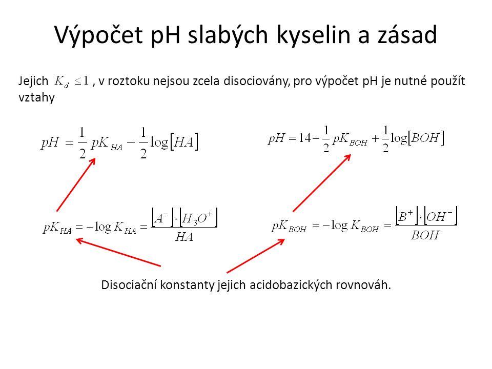 Výpočet pH slabých kyselin a zásad Jejich, v roztoku nejsou zcela disociovány, pro výpočet pH je nutné použít vztahy Disociační konstanty jejich acidobazických rovnováh.