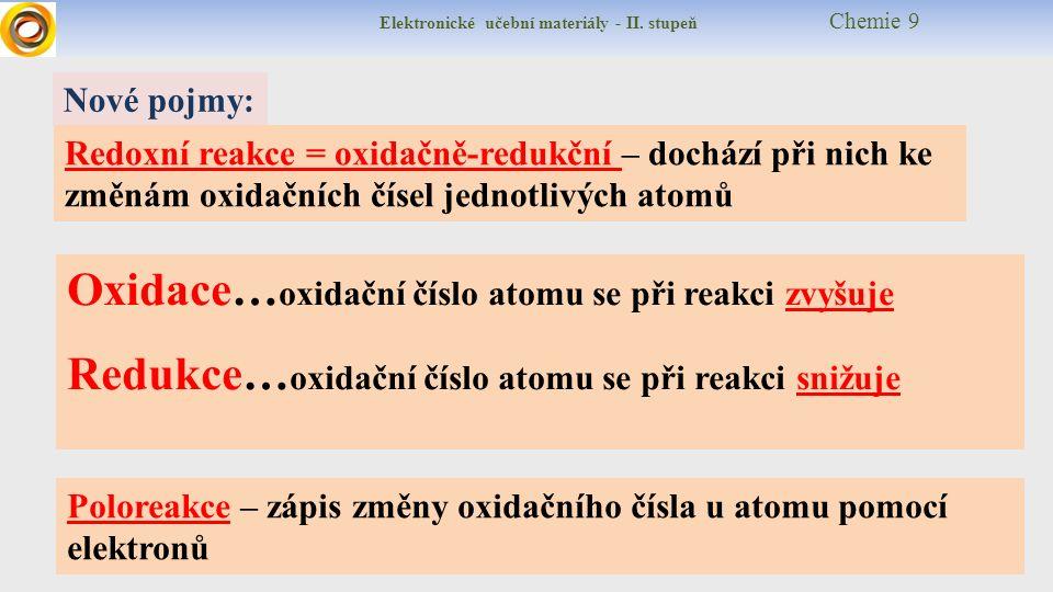 Elektronické učební materiály - II.stupeň Chemie 9 Připomeň si: Jak se mění oxidační číslo .