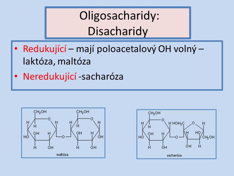 Oligosacharidy: Disacharidy Redukující – mají poloacetalový OH volný – laktóza, maltóza Neredukující -sacharóza