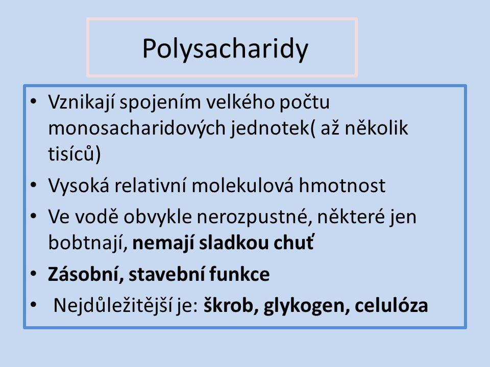 Polysacharidy Vznikají spojením velkého počtu monosacharidových jednotek( až několik tisíců) Vysoká relativní molekulová hmotnost Ve vodě obvykle nerozpustné, některé jen bobtnají, nemají sladkou chuť Zásobní, stavební funkce Nejdůležitější je: škrob, glykogen, celulóza