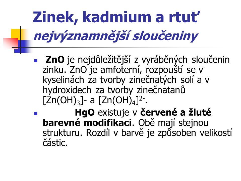 Zinek, kadmium a rtuť nejvýznamnější sloučeniny ZnO je nejdůležitější z vyráběných sloučenin zinku. ZnO je amfoterní, rozpouští se v kyselinách za tvo