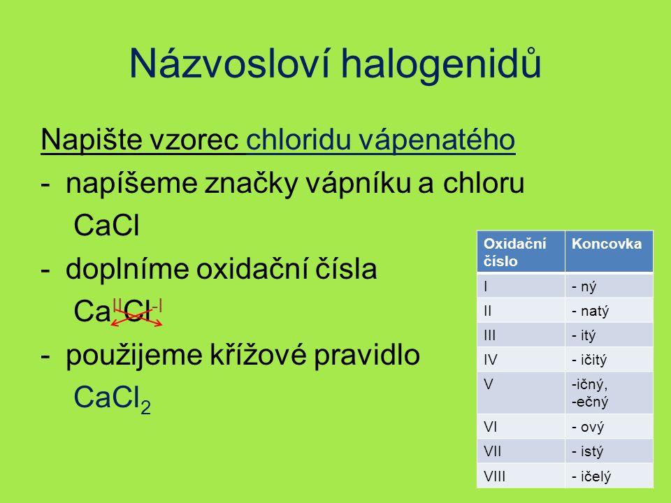 Názvosloví halogenidů Napište vzorec chloridu vápenatého -napíšeme značky vápníku a chloru CaCl -doplníme oxidační čísla Ca II Cl -I -použijeme křížové pravidlo CaCl 2 Oxidační číslo Koncovka I- ný II- natý III- itý IV- ičitý V-ičný, -ečný VI- ový VII- istý VIII- ičelý