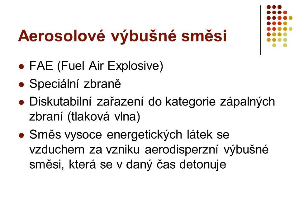 Aerosolové výbušné směsi FAE (Fuel Air Explosive) Speciální zbraně Diskutabilní zařazení do kategorie zápalných zbraní (tlaková vlna) Směs vysoce ener