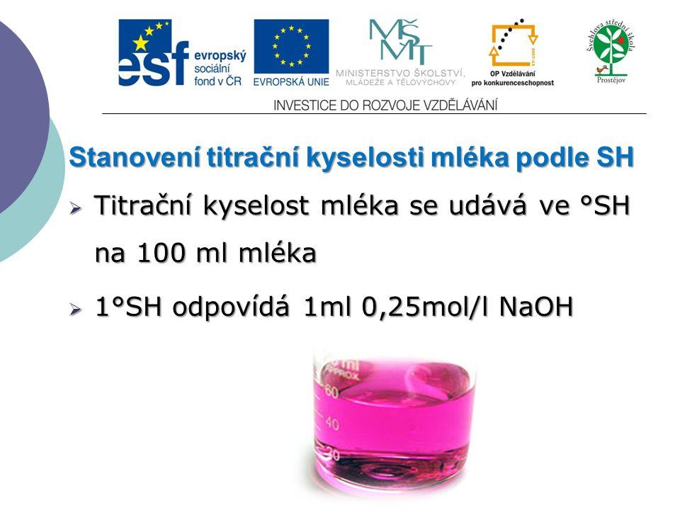 Stanovení titrační kyselosti mléka podle SH  Titrační kyselost mléka se udává ve °SH na 100 ml mléka  1°SH odpovídá 1ml 0,25mol/l NaOH