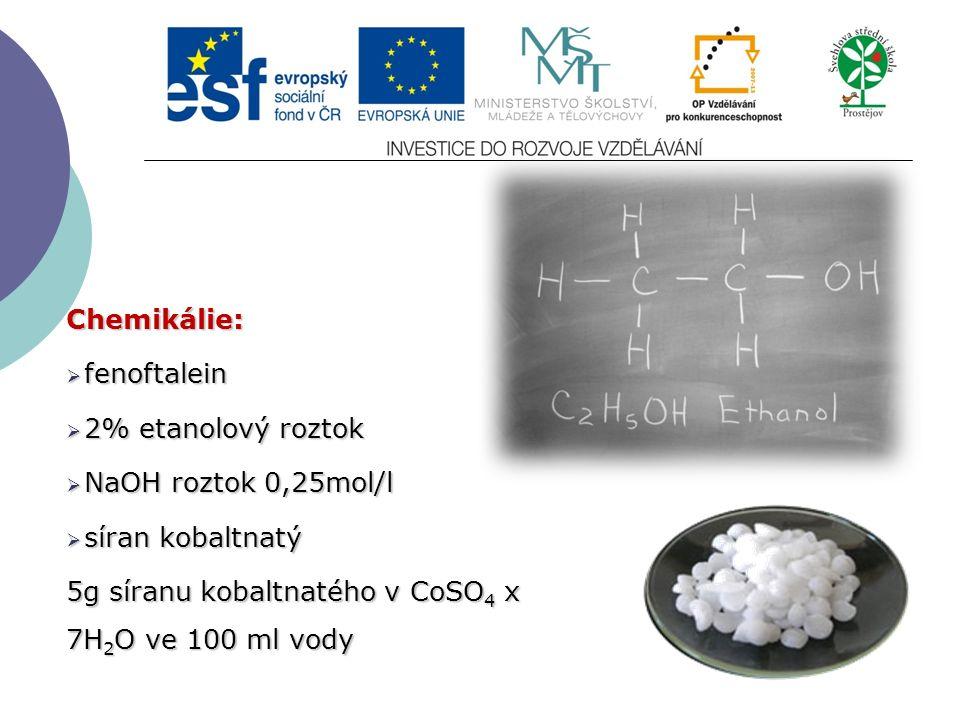 Chemikálie:  fenoftalein  2% etanolový roztok  NaOH roztok 0,25mol/l  síran kobaltnatý 5g síranu kobaltnatého v CoSO 4 x 7H 2 O ve 100 ml vody