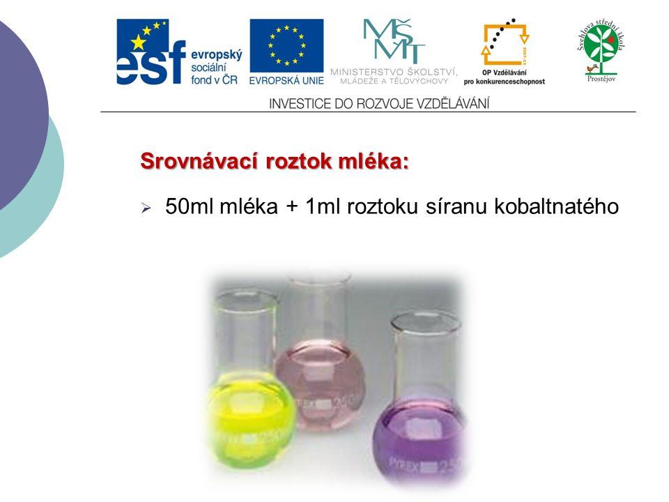 Srovnávací roztok mléka:  50ml mléka + 1ml roztoku síranu kobaltnatého