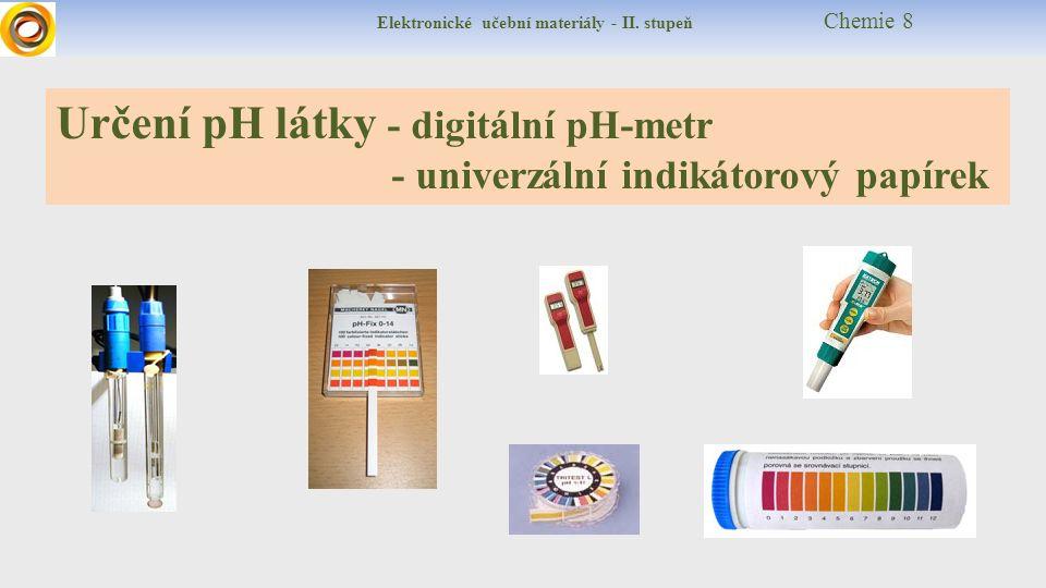 Elektronické učební materiály - II. stupeň Chemie 8 Určení pH látky - digitální pH-metr - univerzální indikátorový papírek
