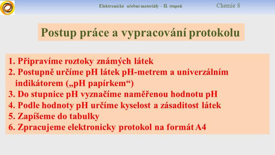 Elektronické učební materiály - II. stupeň Chemie 8 Postup práce a vypracování protokolu 1. Připravíme roztoky známých látek 2. Postupně určíme pH lát