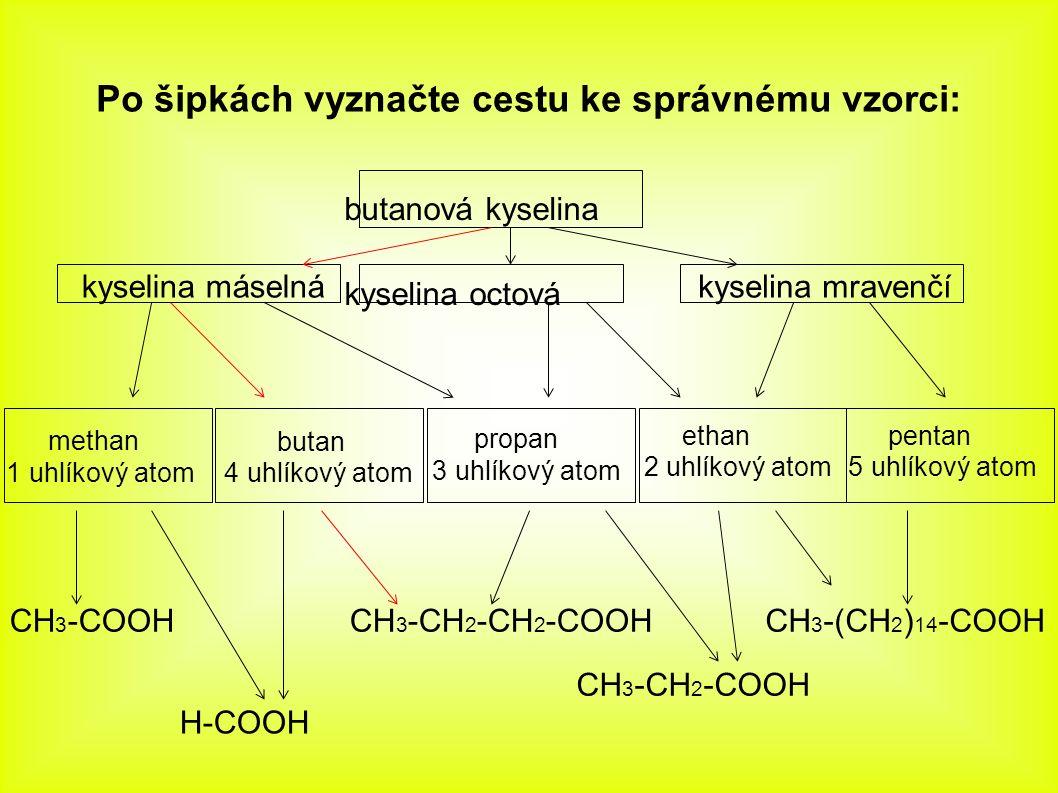 Po šipkách vyznačte cestu ke správnému vzorci: butanová kyselina kyselina octová kyselina máselná kyselina mravenčí methan 1 uhlíkový atom butan 4 uhlíkový atom propan 3 uhlíkový atom ethan 2 uhlíkový atom pentan 5 uhlíkový atom CH 3 -COOH CH 3 -CH 2 -COOH H-COOH CH 3 -CH 2 -CH 2 -COOHCH 3 -(CH 2 ) 14 -COOH