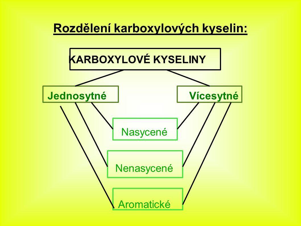 Karboxylové kyseliny ● jednosytné (RCOOH) přípona -ová ● (monokarboxylové) ● vícesytné (R(COOH) n ) přípona -diová - dikarboxylová (n = 2), ● -trikarboxylová (n = 3), ● -...