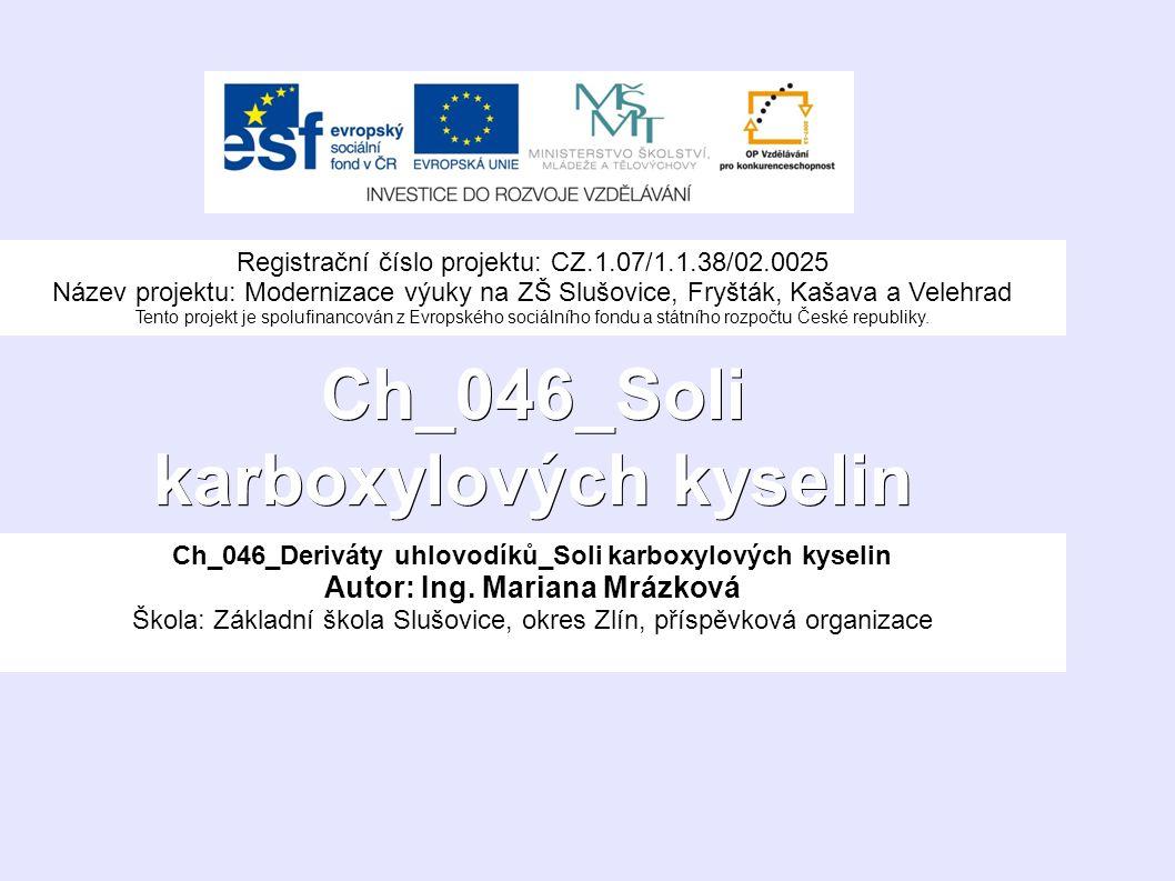 Ch_046_Soli karboxylových kyselin Ch_046_Deriváty uhlovodíků_Soli karboxylových kyselin Autor: Ing.
