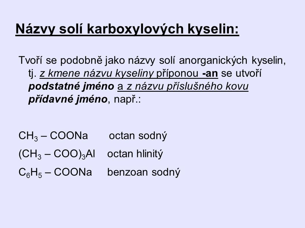 Názvy solí karboxylových kyselin: Tvoří se podobně jako názvy solí anorganických kyselin, tj.