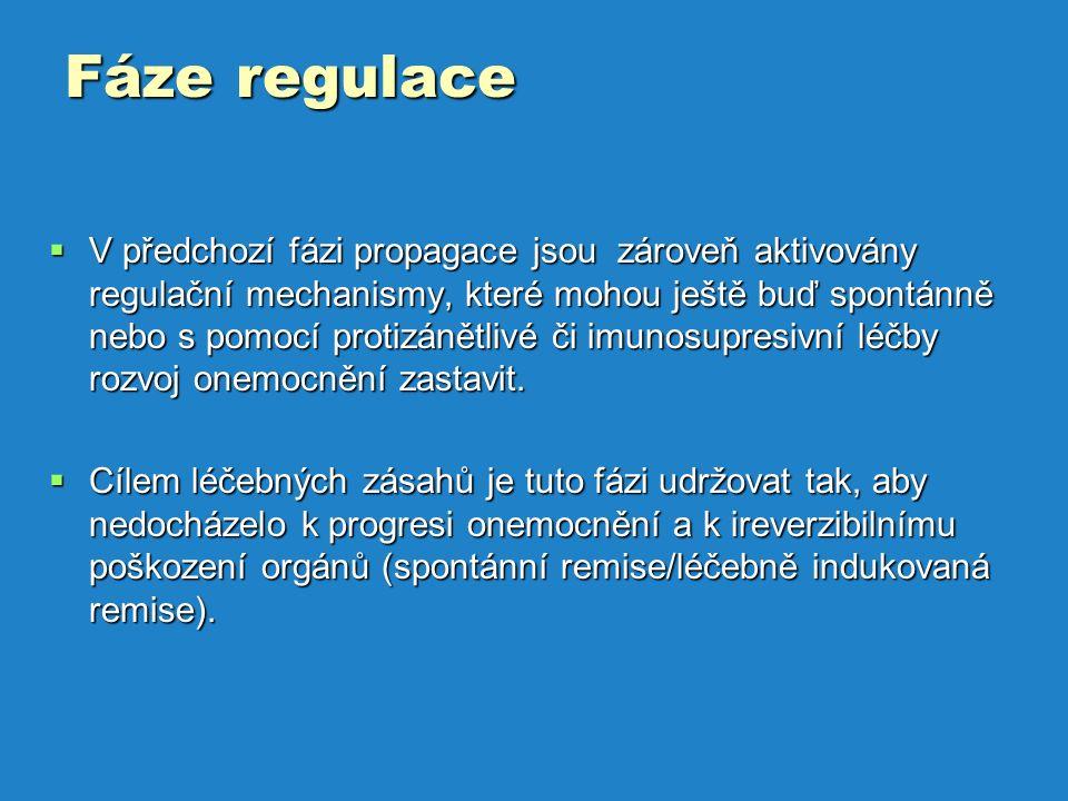 Fáze regulace  V předchozí fázi propagace jsou zároveň aktivovány regulační mechanismy, které mohou ještě buď spontánně nebo s pomocí protizánětlivé či imunosupresivní léčby rozvoj onemocnění zastavit.