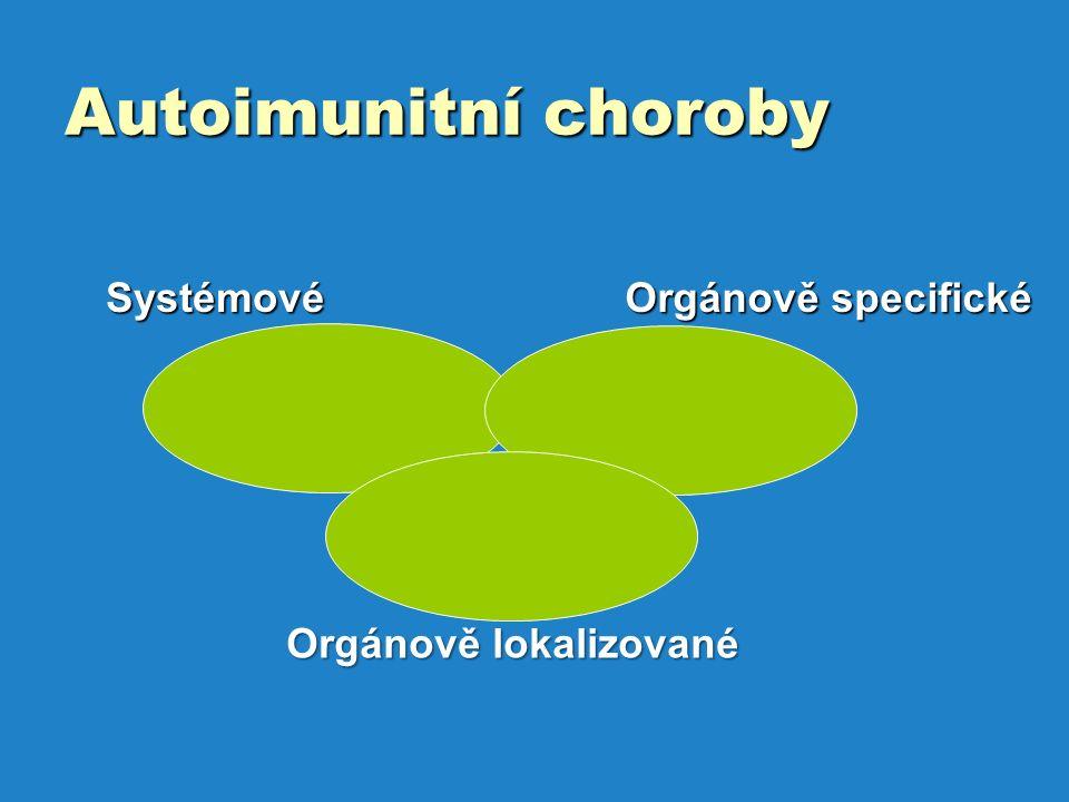 Autoimunitní choroby Systémové Systémové Orgánově specifické Orgánově lokalizované