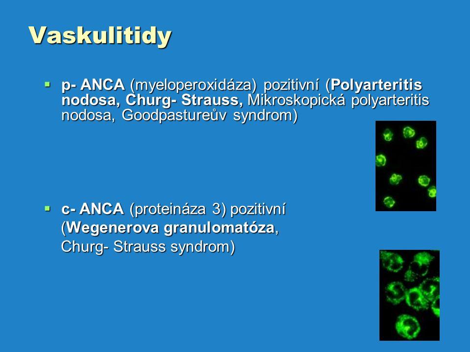 Vaskulitidy  p- ANCA (myeloperoxidáza) pozitivní (Polyarteritis nodosa, Churg- Strauss, Mikroskopická polyarteritis nodosa, Goodpastureův syndrom)  c- ANCA (proteináza 3) pozitivní (Wegenerova granulomatóza, (Wegenerova granulomatóza, Churg- Strauss syndrom) Churg- Strauss syndrom)