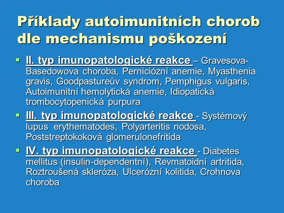 Příklady autoimunitních chorob dle mechanismu poškození  II.