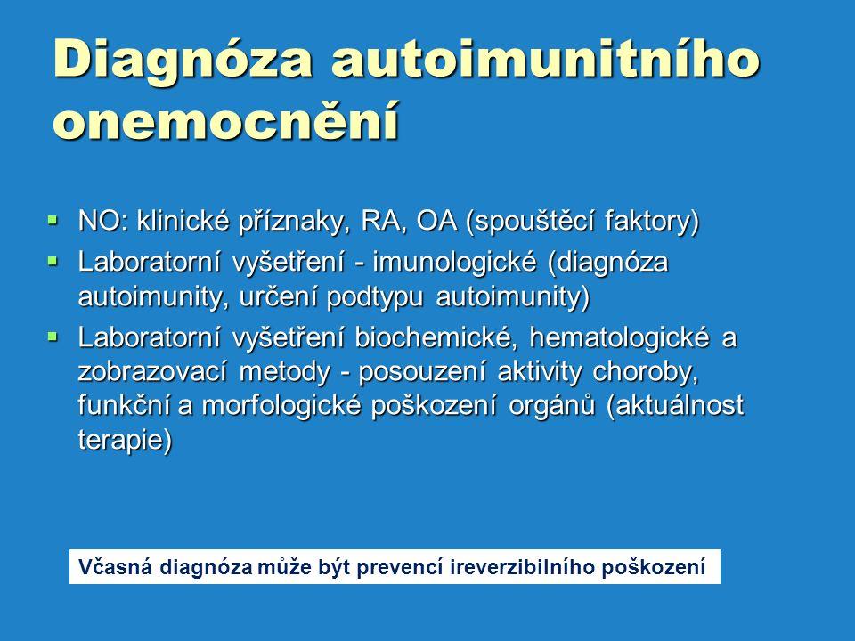 Diagnóza autoimunitního onemocnění  NO: klinické příznaky, RA, OA (spouštěcí faktory)  Laboratorní vyšetření - imunologické (diagnóza autoimunity, určení podtypu autoimunity)  Laboratorní vyšetření biochemické, hematologické a zobrazovací metody - posouzení aktivity choroby, funkční a morfologické poškození orgánů (aktuálnost terapie) Včasná diagnóza může být prevencí ireverzibilního poškození