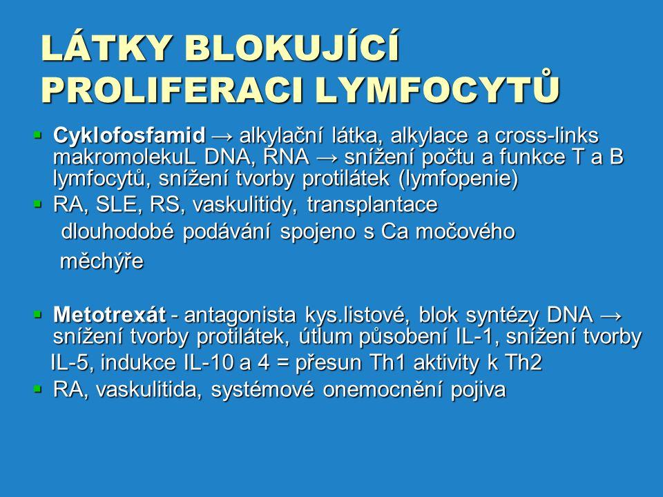 LÁTKY BLOKUJÍCÍ PROLIFERACI LYMFOCYTŮ  Cyklofosfamid → alkylační látka, alkylace a cross-links makromolekuL DNA, RNA → snížení počtu a funkce T a B lymfocytů, snížení tvorby protilátek (lymfopenie)  RA, SLE, RS, vaskulitidy, transplantace dlouhodobé podávání spojeno s Ca močového dlouhodobé podávání spojeno s Ca močového měchýře měchýře  Metotrexát - antagonista kys.listové, blok syntézy DNA → snížení tvorby protilátek, útlum působení IL-1, snížení tvorby IL-5, indukce IL-10 a 4 = přesun Th1 aktivity k Th2 IL-5, indukce IL-10 a 4 = přesun Th1 aktivity k Th2  RA, vaskulitida, systémové onemocnění pojiva