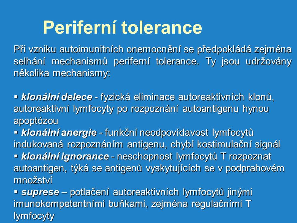 Periferní tolerance Při vzniku autoimunitních onemocnění se předpokládá zejména selhání mechanismů periferní tolerance.