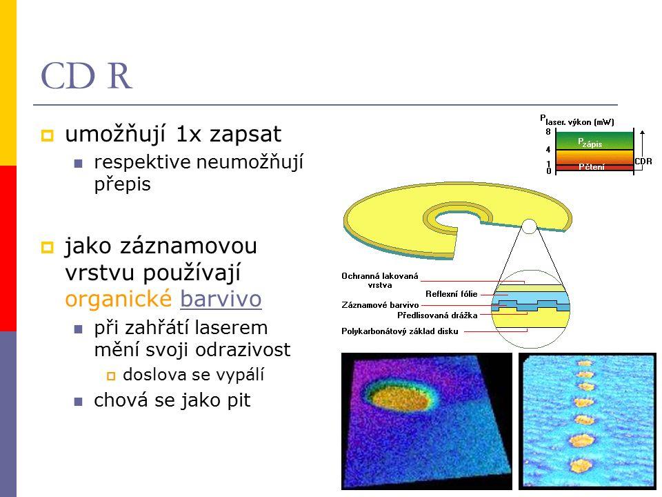CD R  umožňují 1x zapsat respektive neumožňují přepis  jako záznamovou vrstvu používají organické barvivobarvivo při zahřátí laserem mění svoji odrazivost  doslova se vypálí chová se jako pit