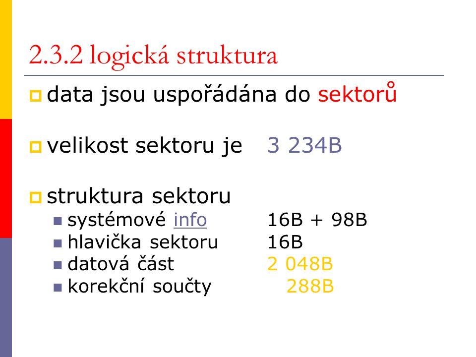2.3.2 logická struktura  data jsou uspořádána do sektorů  velikost sektoru je 3 234B  struktura sektoru systémové info 16B + 98Binfo hlavička sektoru 16B datová část 2 048B korekční součty 288B